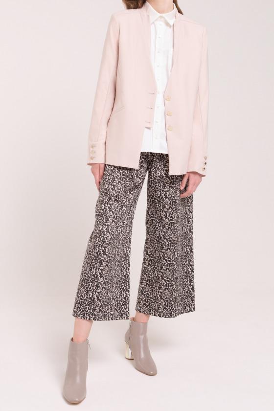 Pantalon taille haute coupe large coton imprimé JUNGLE noir