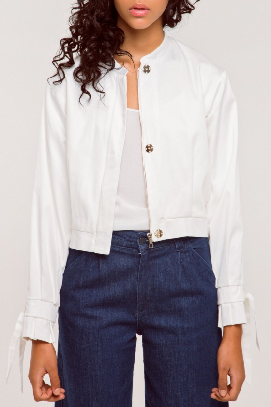 GATSBY blanc - Veste en satin de coton