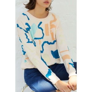 PIVOINE - Printed jacquard intarsia sweater