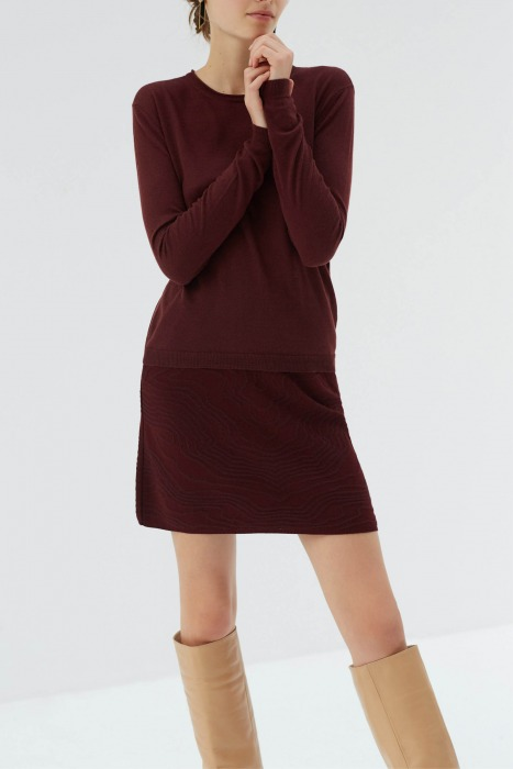 GIRAULT red - fine knit with round collar