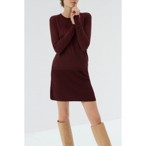 GIRAULT rouge - Pull en maille fine col rond