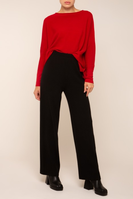 KNIT STRAIGHT FIT TROUSERS BLACK