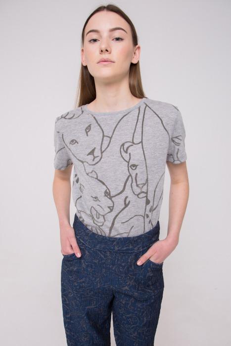 T-shirt manches courtes en coton imprimé ARI gris