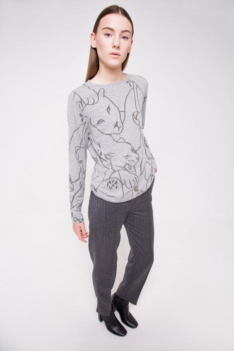 T-shirt manches longues en coton imprimé ANA gris