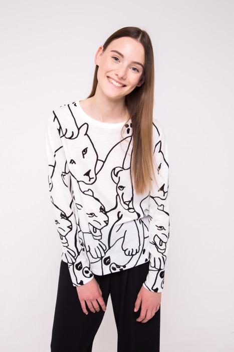 T-shirt manches longues en coton imprimé ANA blanc