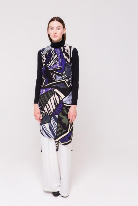Robe tunique longue asymétrique en soie imprimée RENARD bleu multico