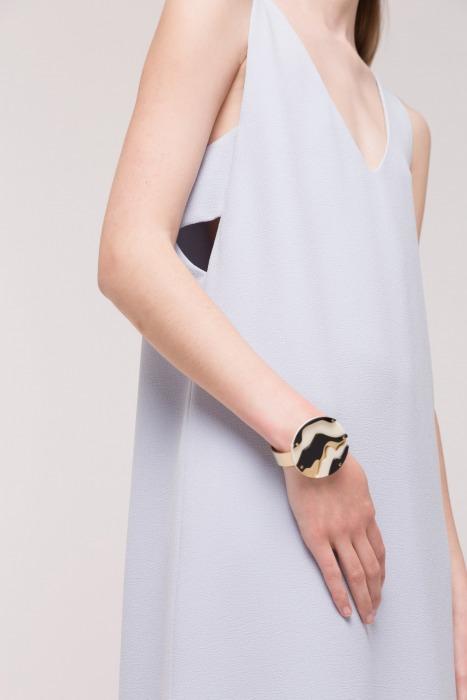 Bracelet en métal doré et plexi GALIA blanc