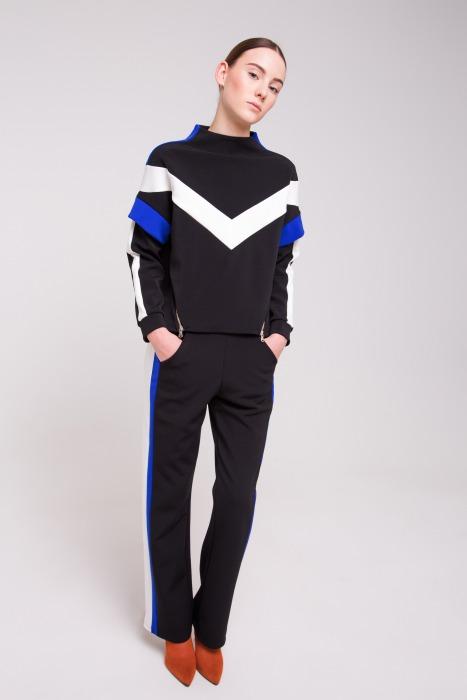 Sweat-shirt esprit sport avec jeu de découpes JET noir