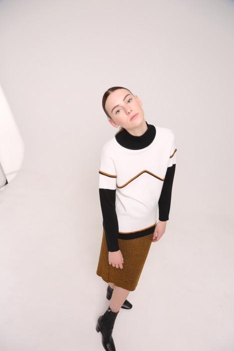 Pull col roulé en laine TENOR blanc multico