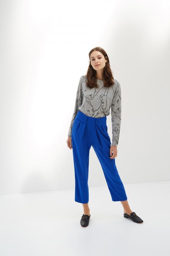 ANA gris - T-shirt manches longues en coton imprimé