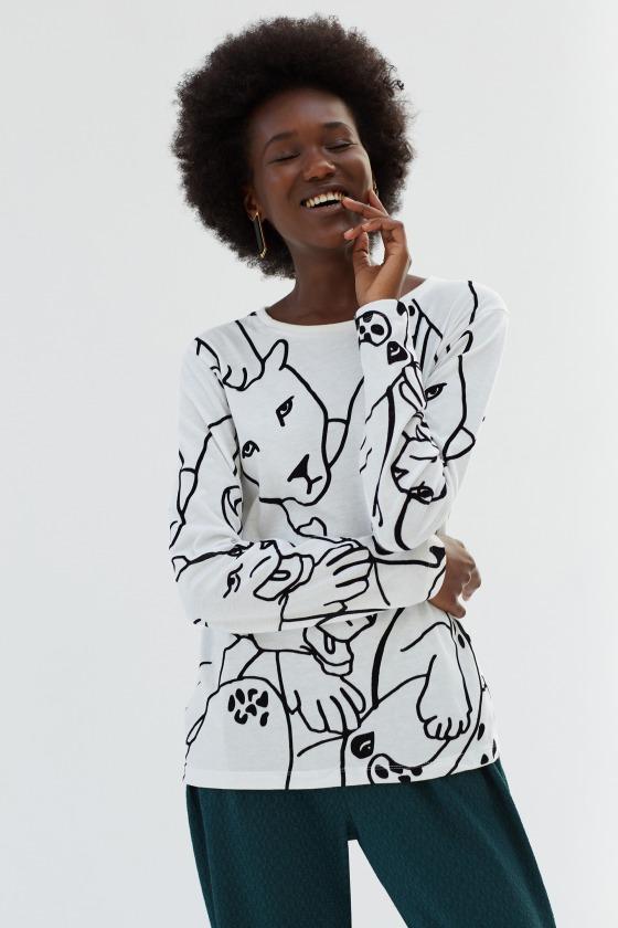 ANA blanc - T-shirt manches longues en coton imprimé
