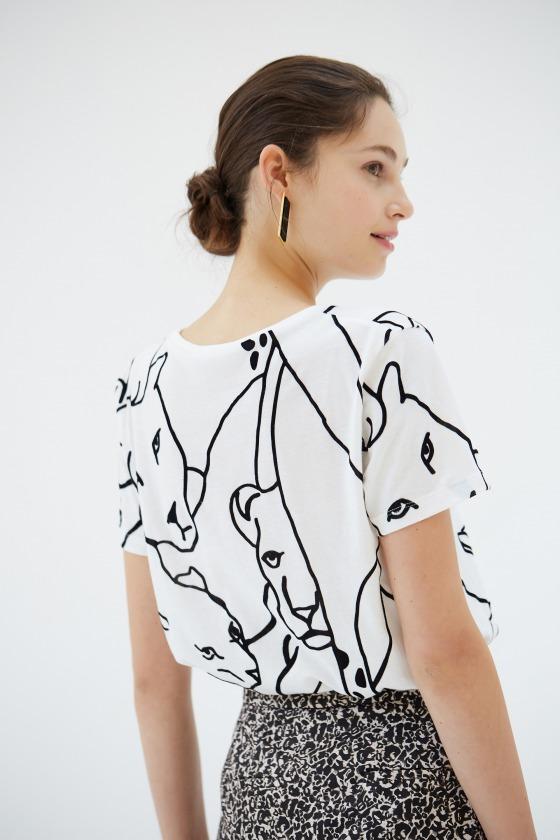 ARI blanc - T-shirt manches courtes en coton imprimé