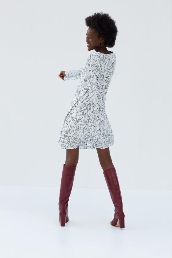 BAMBI - Robe fluide longueur genoux en viscose imprimée