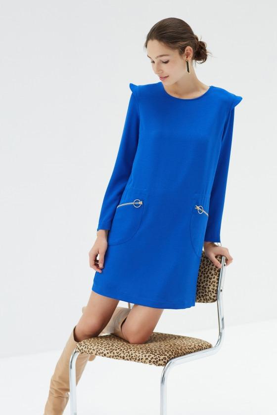 LAPONIE bleu électrique - Robe col rond manches longues