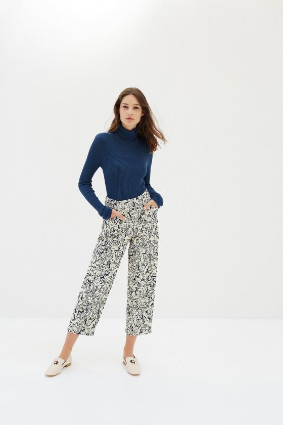 CABRI beige - Pantalon 7/8ème taille haute en coton jacquard imprimé