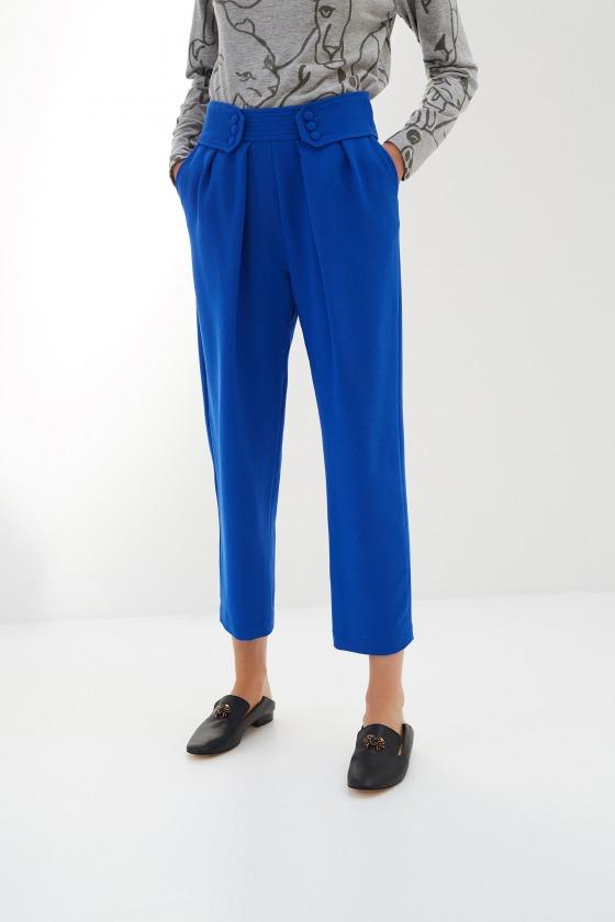 LEZARD bleu électrique - Pantalon taille marquée