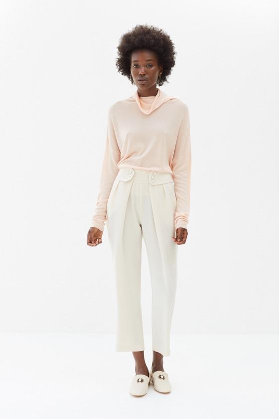 LEZARD beige - Pantalon taille marquée
