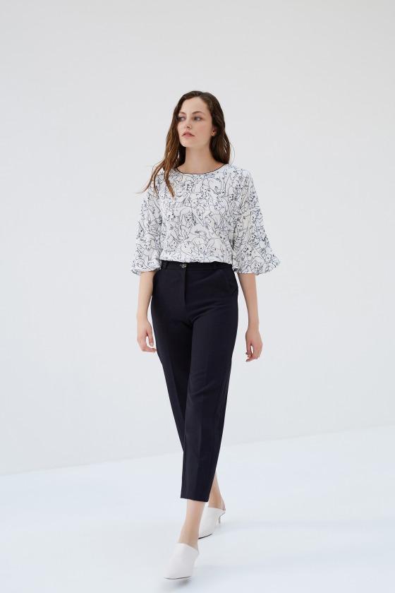 PIVERT - Pantalon droit avec découpe sur le côté imprimé