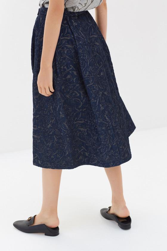 CAMILLE bleu - Jupe midi taille haute en jacquard coton