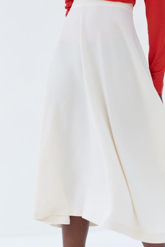 LOIKA beige - Jupe midi taille haute