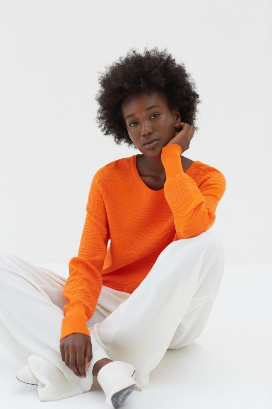 ZUCCA orange - Pull en maille jacquard
