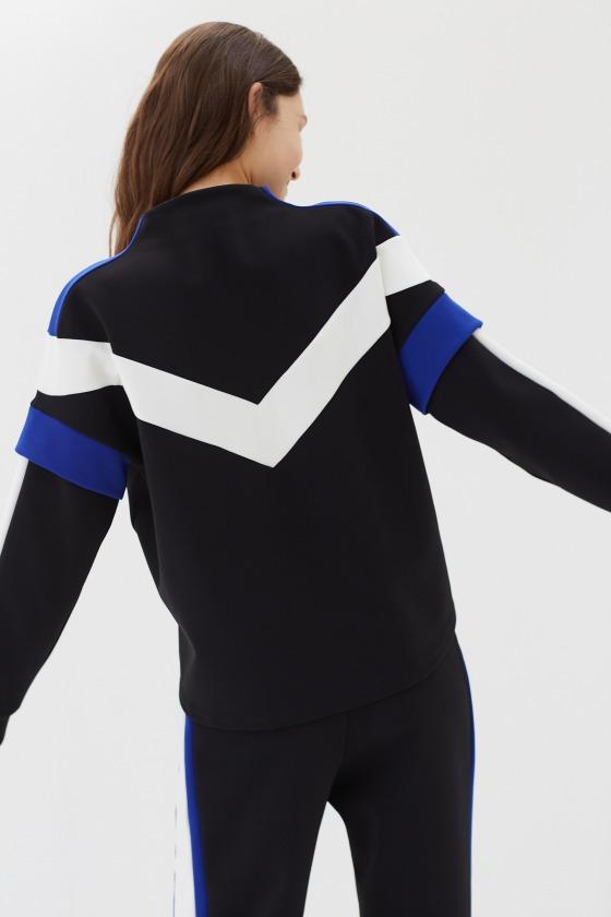 JET noir - Sweat-shirt esprit sport avec jeu de découpes