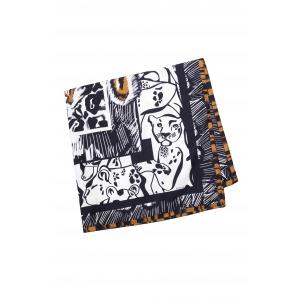 FINZI camel - Carré en soie imprimée 130 x 130
