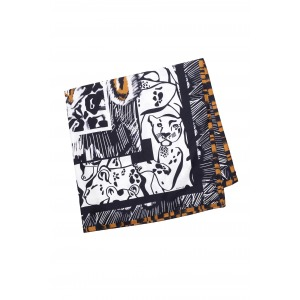 FINZI camel - 130x130 printed silk square scarf