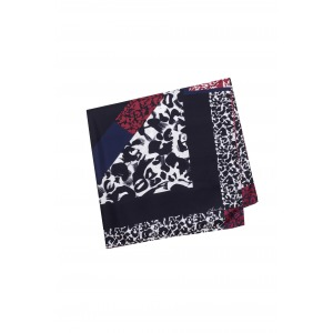 JOYCE red - 90x90 printed silk square scarf