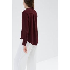 MELIES red - Mao collar shirt