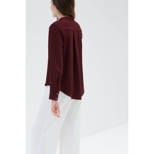 MELIES rouge - Chemise col mao