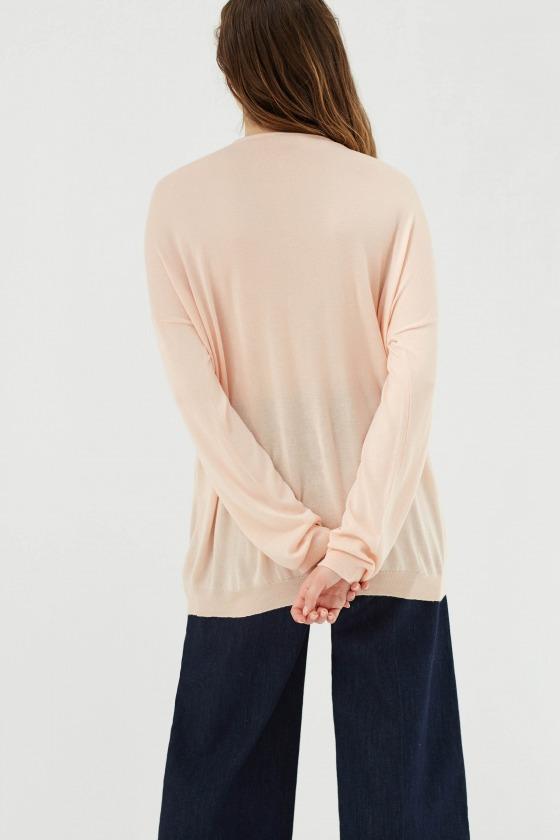 GARNETT beige - Sweater fine knit deep V -neck