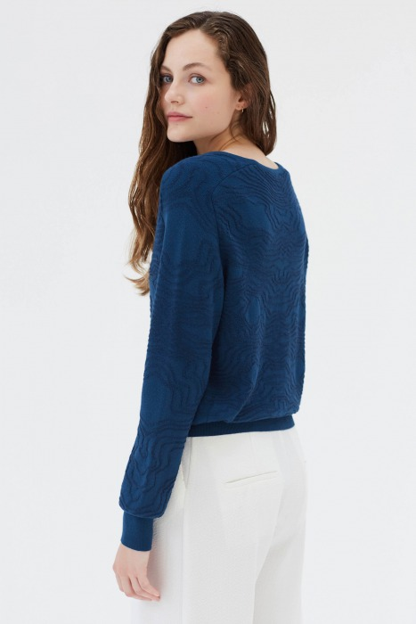 ZUCCA bleu - Pull en maille jacquard