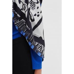 FINZI bleu - Carré en soie imprimée 130 x 130