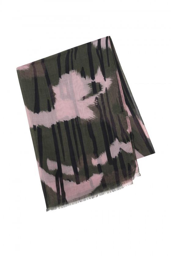 KAOLA vert - Etole en modal et soie imprimée 70 x 210