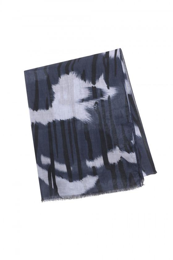 KAOLA bleu - Etole en modal et soie imprimée 70 x 211