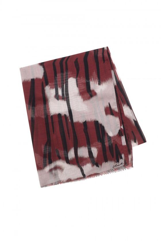 KAOLA rouge - Etole en modal et soie imprimée 70 x 212