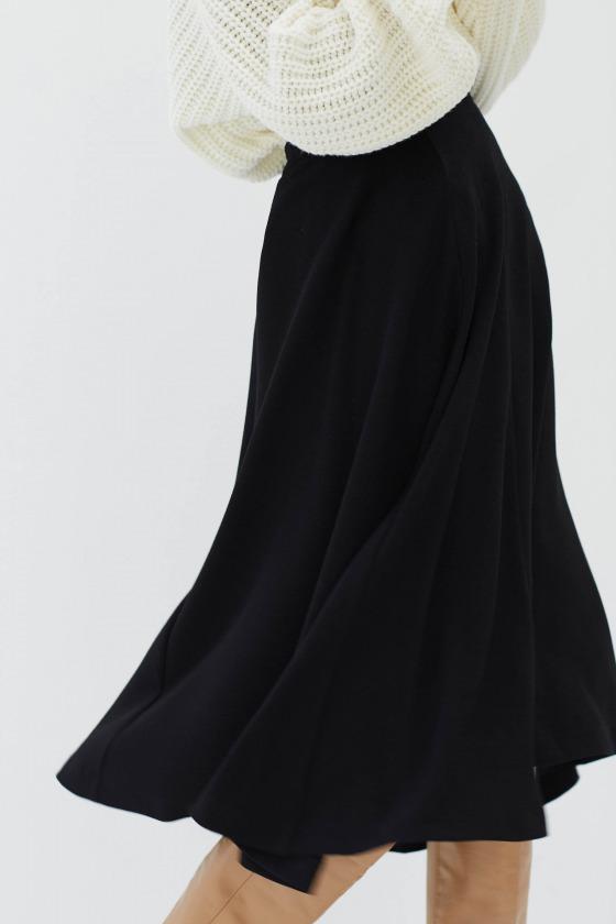 LOIKA noir - Jupe midi taille haute