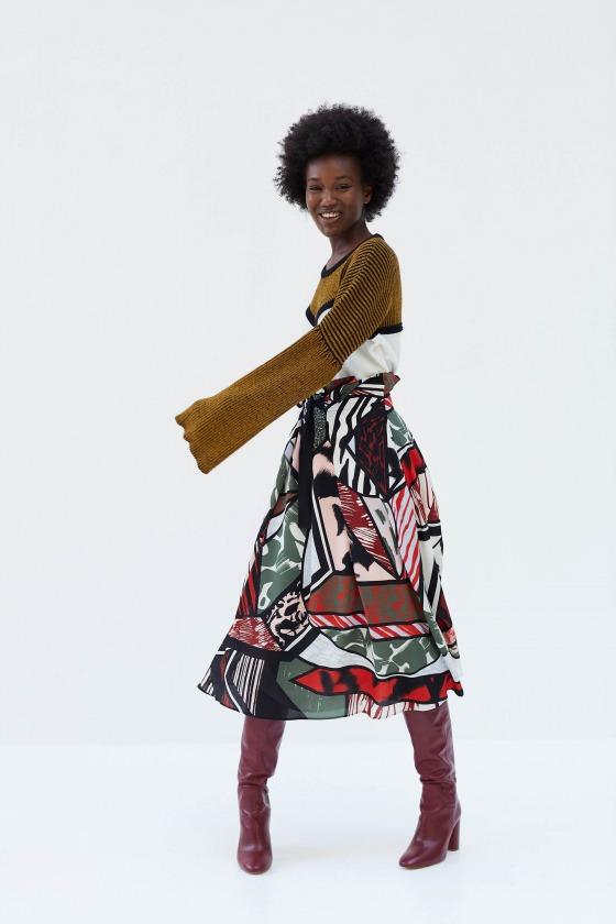 RAMIER rouge - Jupe midi taille haute en soie imprimée