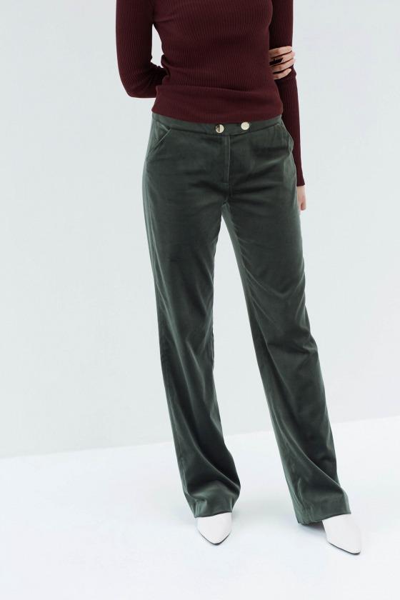 MAMBA vert - Pantalon large en velours