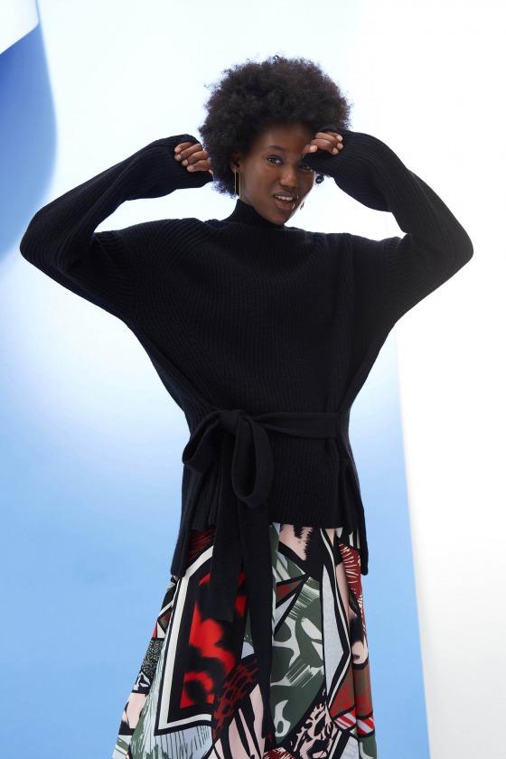 HAVANA noir - Pull col roulé avec ceinture en laine