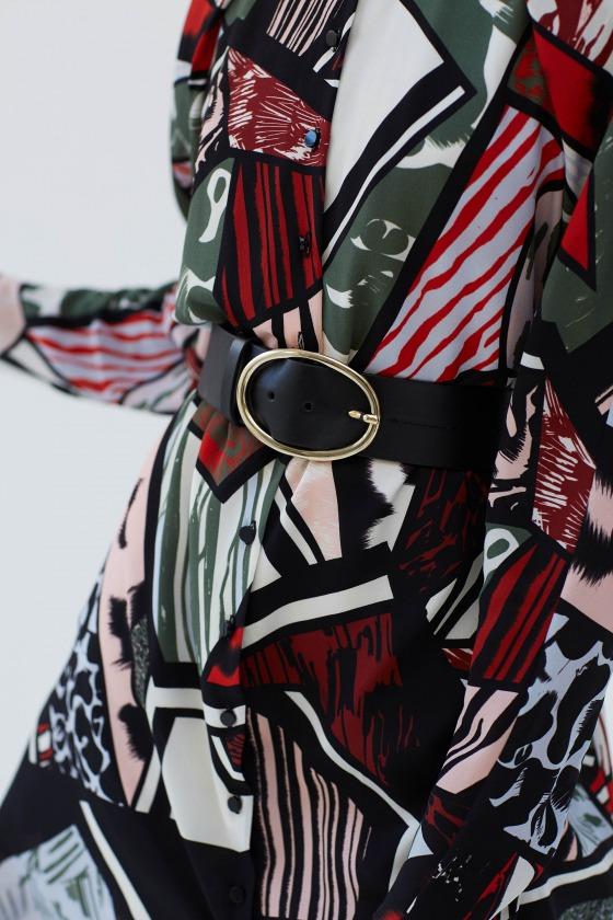 RAINETTE rouge - Robe chemise en soie imprimée