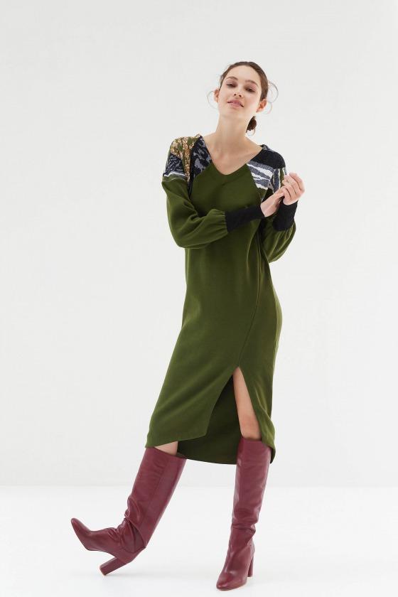 TOCCA vert - Robe en jacquard et milano