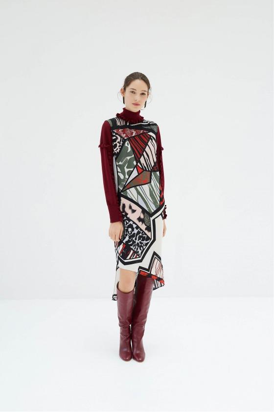 RENARD rouge - Robe tunique asymétrique en soie imprimée
