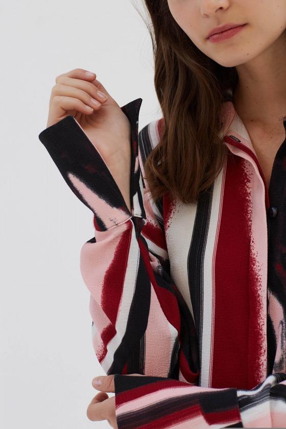 KALONG rouge - Chemise ample manches longues imprimée