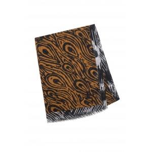 PAOLI camel - Etole en modal et soie imprimée 68 x 210
