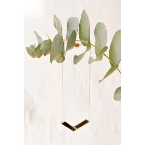 VITO - Collier rectangles en métal doré et plexi