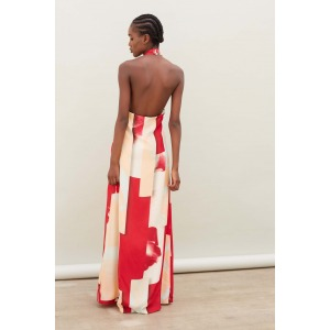 GARNER black - Bare back long silk dress