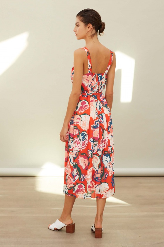 DAVINA red - pleated dress
