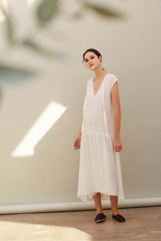HARDY blanc - Robe bohème en crêpe